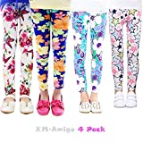 XM-Amigo - Confezione da 4 leggings elasticizzati con motivo floreale (2-13 anni)