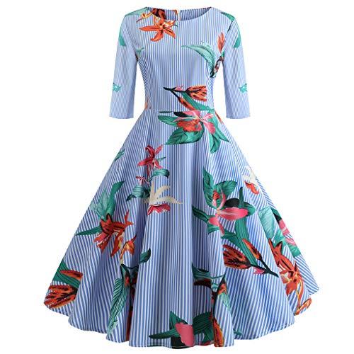 bf6333bc0254 LHWY Stile di Vita Boemo Vestito da Donna con Stampa A metà Manica Vintage  retrò Anni