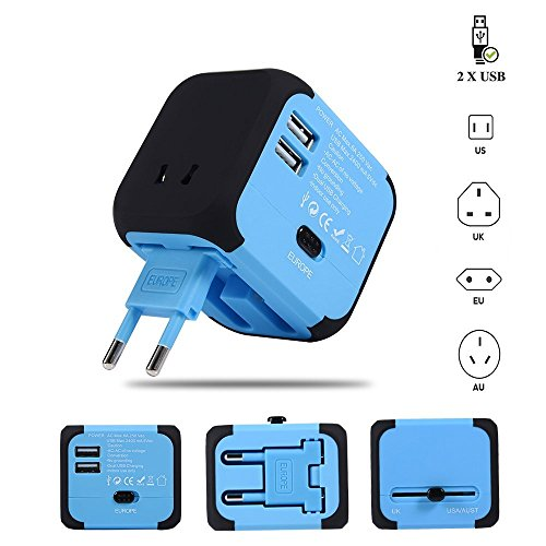 Travel Adapter Elektrische Stecker Sockets Converter mit Dual USB Ladekabel 2,4 A LED-Betriebsanzeige Elektrische Stecker International Travel Plug Adapter Laden(blau) - Australien Für Haartrockner