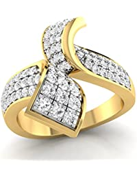 Parshva Diam Ring Collection. 1.34 Ct. Gold Rhodium Plated 925 Sterling Silver Designer Ring For Women