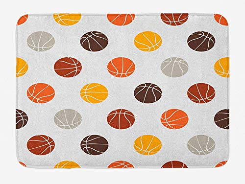 KLYDH Basketball Bath Mat, Ball Pattern in Earthen Tones Competition Sports Professional League Game Player, Plush Bathroom Decor Mat with Non Slip Backing, Multicolor,Size:19.6X31.4 inches,50cmX80cm