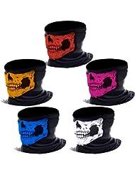 eBoot Máscara de Calavera sin Costura Bragas de Cuello de Calavera Bufanda Multiuso de Motocicleta, Colores Variados, 5 Piezas