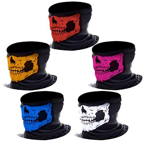 Maschera Teschio Cranio di Viso Senza Cucitura Tubo Maschere Viso per Moto, Colori Assortiti, 5 Pezz