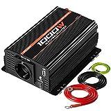 POTEK 1000W Spannungswandler Wechselrichter DC 12V auf AC 230V Konverter Aluminiumgehäuse für Auto / 2*Ersatzsicherungen