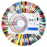 LETION Ricamo Starter Kit in 72 Colori, Kit di Attrezzi a Punto Croce con 5 Pezzi di Cerchi da Ricamo in Plastica, 12 da 18 Pollici Tela Classic Reserve Aida 14 Punti e Set di Aghi