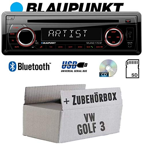 BLAUPUNKT Milano 170 BT - Bluetooth | CD | MP3 | SD | USB Autoradio Radio - Einbauset für VW Golf 3 III - JUST SOUND best choice for caraudio