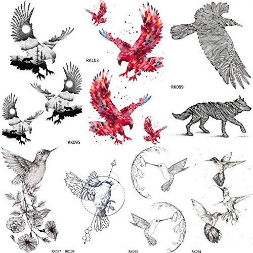 fkleber DIY Weißkopfseeadler Black Birds Temporäre Tattoos Aufkleber Wasserdicht Benutzerdefinierte Tato Kolibri Kleine Kunst Fake Tattoo Frauen ()