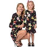 Riou Weihnachten Baby Kleidung Set Kinder Pullover Pyjama Outfits Set Familie Weihnachten Mama Kinder Mädchen Cartoon Print Prinzessin Kleid Partykleid (M, Mom)