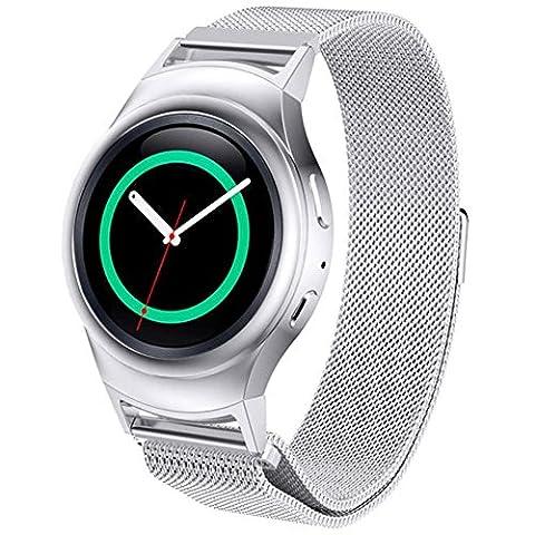 Hansee Bracelet moderne en acier inoxydable pour montre + connecteur pour Samsung Galaxy S2 RM-720, outils de réparation inclus, adulte mixte, argent