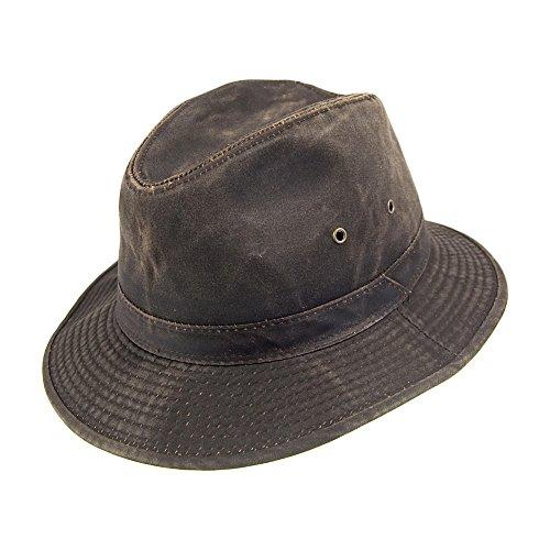 Village Hats Chapeau Fedora Safari en Coton à Effet Usé Dorfman Pacific - Large