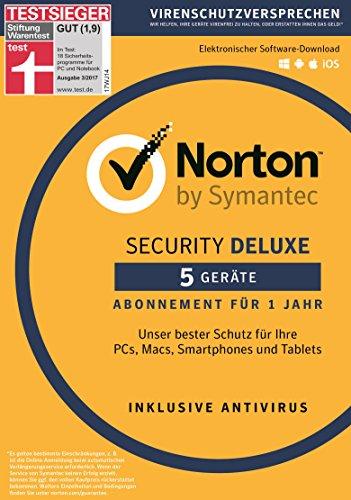 Norton Security Deluxe 2018 | 5 Geräte | 1 Jahr |PC/Mac/iOS/Android |Download