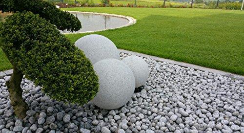 Trango 3er Set Gartenkugeln 30/40/50 cm in Granit-Optik TG34500G mit jeweils 5m IP44 Zuleitungskabel & E27 Fassung Kugelleuchte Außenleuchte Gartenleuchte Außenlampe