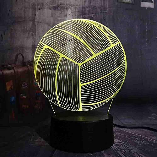 BJDKF Nachtlicht 2018 Neue Sport Volleyball 3D Rgb Led Nachtlicht Multicolor Kreative 7 Farbwechsel Usb Touch Schreibtischlampe Kinder Geschenk Room Decor