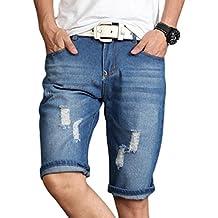 ZhiYuanAN Jeans Shorts De Rasgados Pantalones Cortos Rotos Para Hombre Casuales Enrollar Los Short Vaqueros Clásicos Rectos Shorts