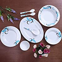 Royalford Melamine ware Dinner Set, White, 27 Pieces