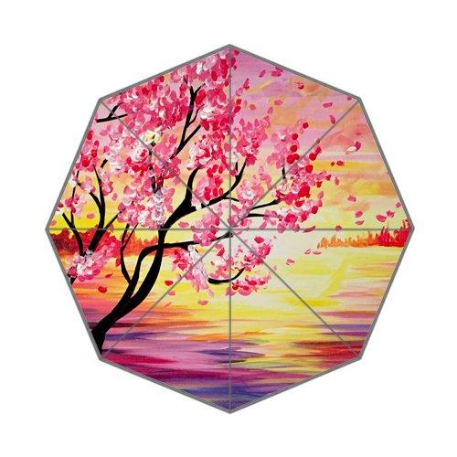 Flipped Summer Y Gespiegelt Sommer Y Paint Night Cherry Blossom Malerei Individuelle Art Prints Regenschirm (Malerei Cherry Blossom)