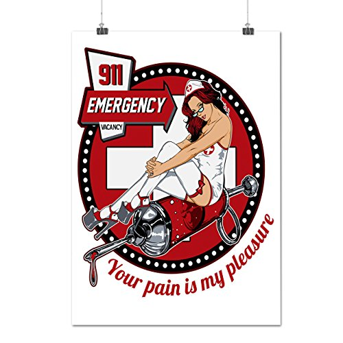 Sexy Krankenschwester Notfall Kostüm Mattes/Glänzende Plakat A2 (60cm x 42cm) | (Süße Sexy Krankenschwester Kostüme)
