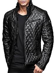 Winterjacke | Kunstleder-Jacke | Stepp-Jacke für Herren Modell M6017 von Redbridge - angesagte Biker Jacke im schlanken Parka-Stil mit Karo Steppmuster ideal für den Winter