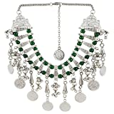 #5: Aradhya Oxidized Russian Silver and Green Beads Necklace Jewellery Green Beads for Women and Girls