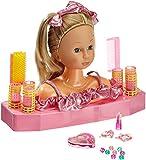 Dimian 230 - Testa di bambola da acconciare e truccare con 70 accessori, circa 21 cm