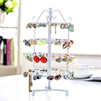 Jewelry Display Stand,Hanging Jewelry Organizer Display Holder with Ring Tray to Organize Necklaces Bracelets Earrings Rings and Watches Metal Rotating Detachable Display Props White