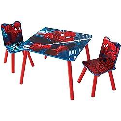 Hello Home Conjunto Spider-Man Infantil de Mesa y Sillas, Madera, Rojo, 63x63x52.5 cm