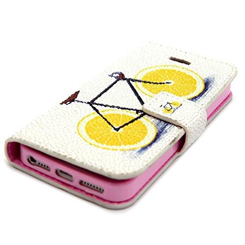 MOONCASE iPhone SE Coque Portefeuille [Porte-cartes] Modèle Case Housse en Cuir Etui à rabat avec Béquille pour iPhone 5 / 5S / iPhone SE -YX09 YX04