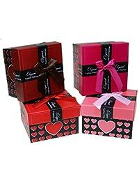 Pack de 24 estuches para relojería de cartón con esponja. (8,7 x 8,7 x 5,5 cm) 4 Colores surtidos - Corazones - Christian Gar