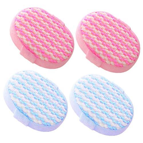 Lurrose 4pcs tampons éponge de bain éponge douce exfoliant loofah accessoires de bain pour douche Spa (bleu + rose)