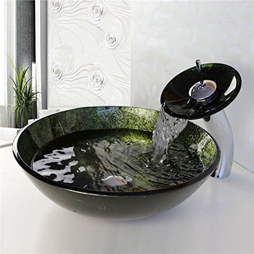 rtglas-Waschbecken mit Wasserfall-Wasserhahn, mit Abfluss und Montagering. ()