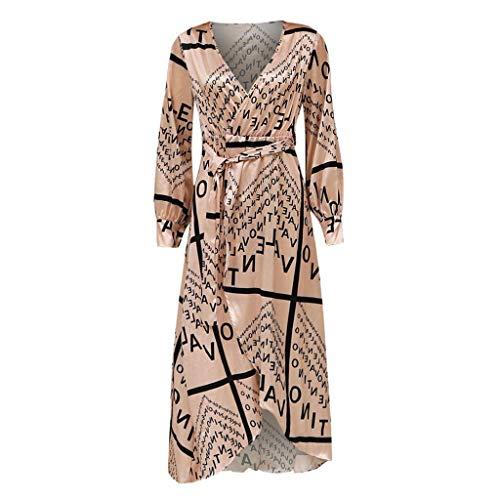 Sannysis Damen Maxikleid Langes Elegantes Kleid Long Sleeve Tiefem V-Ausschnitt Cocktail Abendkleid Boho Sommerkleider Strandkleider - Long Sleeve Damen Kleid