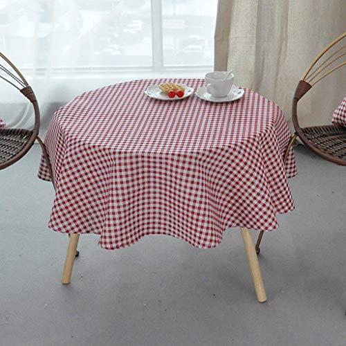 Runde Tischdecke Moderne Minimalistische Baumwolle Leinen Kunst Kleine Frische Gitter Kaffee...