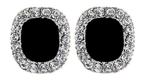 Orecchini a clip - argento placcato clip su orecchini con una grande pietra nera e cristalli - Helen B di Bello London