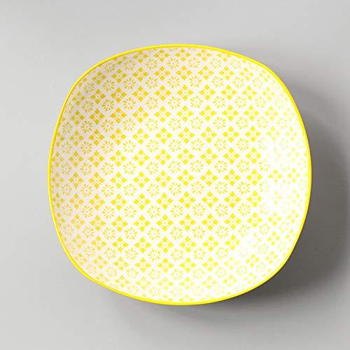 infache haushalts japanischen stil und wind quadratische platte keramik glasur farbe gericht teller snack teller gelb Cuihua tiefe quadratische platte 19,6x4,5 cm ()