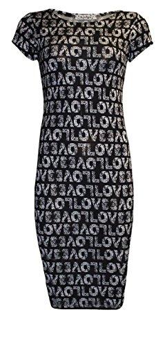 Generic Damen Schlauch Kleid Love Print