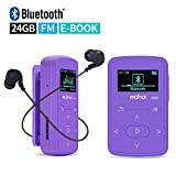 Mymahdi Sport Music Clip,24 GB Bluetooth MP3 Player with FM Radio Voice Record Function,Purple with LCD Screen and Memory Card Slot,Sweatproof Silicone Case,Support up to 128GB