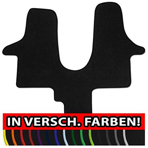 Preisvergleich Produktbild (Q100, Rand wählbar) Passgenaue Fußmatten aus NF-Velours mit Randfarbe in Schwarz (300) für Volkswagen VW T5 + T6 Multivan 1tlg. Bj. 2003-heute