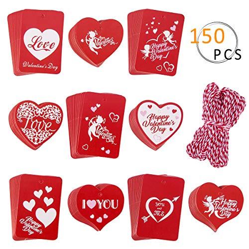 APIPI 150 Stück Herz Valentinstag Geschenkpapier Geschenkpapier Preisetiketten mit 30 Meter Schnur für Valentinstag Hochzeit Urlaub Party Gastgeschenke 10 Styles