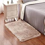 KAIHONG Faux Lammfell Schaffell Teppich (180 x 80 cm) Lammfellimitat Teppich Longhair Fell Optik Nachahmung Wolle Bettvorleger Sofa Matte (Rechteckig Braun)