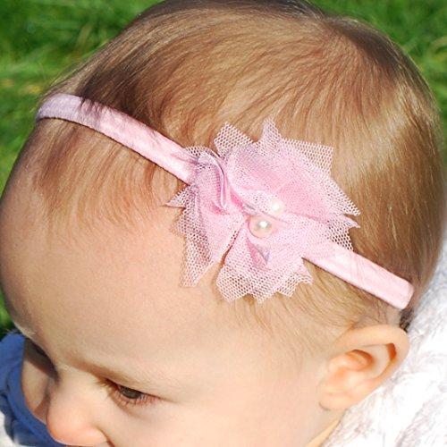 queenmee Baby Ballerina Baby Headbands Baby Taufe Haarband Set Baby Taufe Haarband Set Taufe Headbands für Baby Mädchen Elfenbeinfarben Taufe Haarband Stirnband Band Taufe Haar Zubehör (Organza Ballerina)