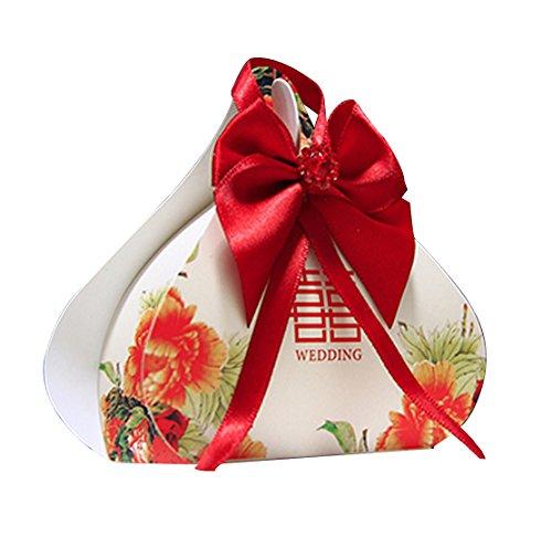 chinarot Arthochzeit Bevorzugungskästen Honig Hochzeit Bevorzugungen Süßigkeiten Verpackung Boxen mit rotem Band 50pieces (Bonbons oder Pralinen nicht enthalten) (Band Personalisiert Hochzeit Bevorzugungen Für)