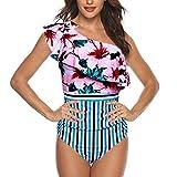 Dicomi Bikini Donna Monospalla Banda Ruffle Imbottito Vita Alta Costume da Bagno Una Spalla da Bagno Bikini con Stampa Bikini Donna Beachwear