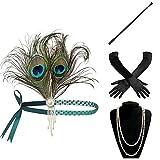 BABEYOND 1920s Flapper Set Damen Gatsby Kostüm Accessoires Set Inklusive Stirnband Halskette Handschuhe Zigarettenhalter (Set-11)