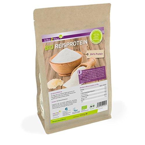 Bio Reisprotein 1 kg im Zippbeutel - 84{6b23874b90260ef3eac31b3e1fae200d5dad6dd1723d009dfd4d7b7f276e7eae} Protein - Eiweiss - Glutenfrei - 1er Pack (1000g) - Premium Qualität