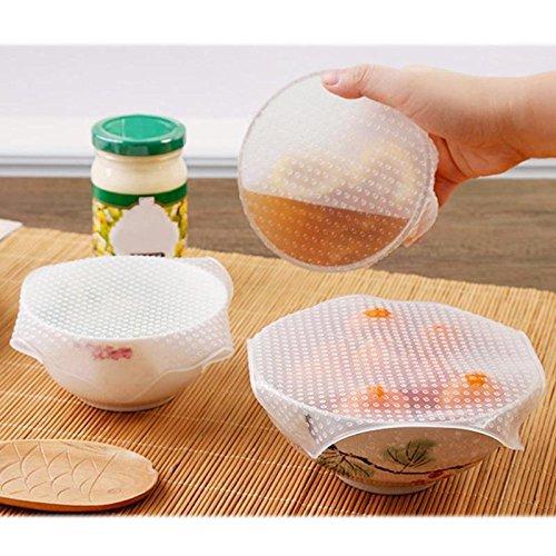 TEQKHZDFJ 4pcs Wiederverwendbare Silikon Lebensmittel frisch halten Stretch Wrap Seal Film Bowl Covers Folien