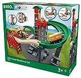 BRIO World 33887 Großes Lagerhaus-Set mit Aufzug - Eisenbahnzubehör für die BRIO Holzeisenbahn - Bauspielzeug & Konstruktionsspielzeug empfohlen für Kinder ab 3 Jahren