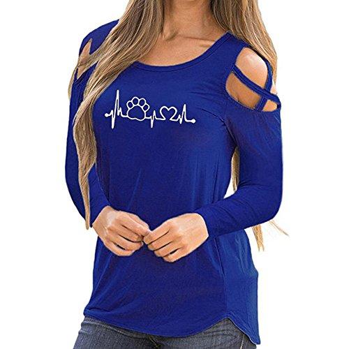 Langärmeliges Oberteil, Zolimx Frauen Riemchen Schulterfreies T-Shirt Schicker Stil Beiläufig Reine Farbe Langarm O-Ausschnitt Tops Blusen (Blau 1, L)
