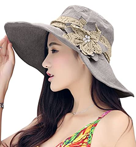 Women Ladies Summer Hat Floppy Sun Hat Bow-knot Collasped Sunscreen Hat Anti-uv Rays Large Brim Hat Beach Sunshade Cap for