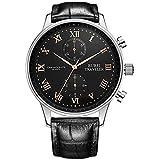 BUREI Herren Chronograph Uhren Business Quarz Kleid Uhren mit schwarzem Zifferblatt römische Ziffern Display und Lederarmband