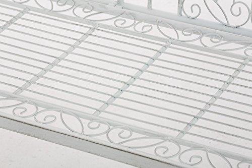 CLP Eisen-Gartenbank ADELE im Landhausstil, aus lackiertem Metall, 107 x 54 cm Antik Weiß - 7